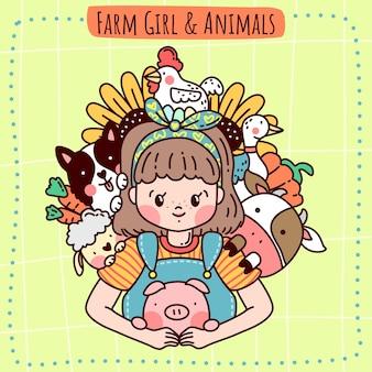 Fille de ferme et animaux