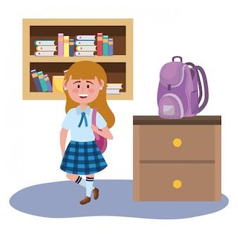 Fille fille de l'école