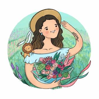 Fille de fleur dans un chapeau de paille avec un bouquet dans un champ vert