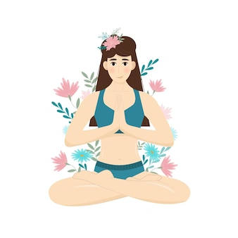 Fille en fleurs dans la position du lotus aux cheveux longs médite. illustration vectorielle pour cartes postales, bannières et sites web.