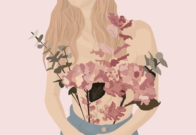 Fille avec des fleurs. illustration tendance de vecteur.
