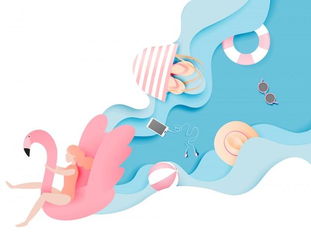 Fille flottant sur la plage avec flamant rose avec du papier de fond de mer magnifique couper style illustration vectorielle