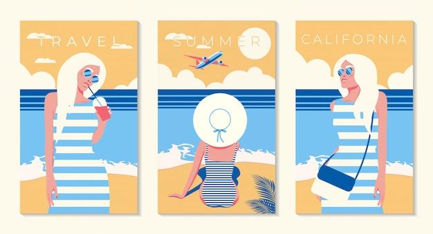 Fille sur fond de ciel bleu. avion dans le ciel. californie. la. los-angeles. illustration