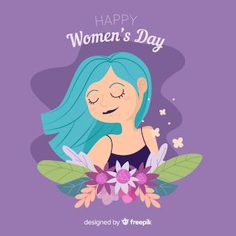 Fille avec fond de fleurs jour des femmes