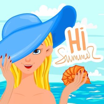 Fille sur fond de paysage d'été. style de bande dessinée. illustration vectorielle.