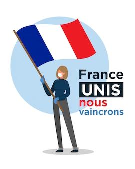 Fille française avec le drapeau de la france encourageant les gens contre le virus corona