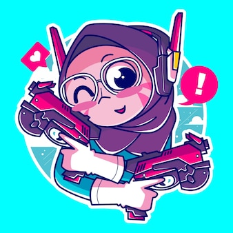 Fille de gamer musulmane avec pistolet et casque cool