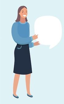 Fille en gant de mitaine tenir la bannière. illustration vectorielle de femme visage kitsch. bulle. fond radial de texte de bande dessinée.