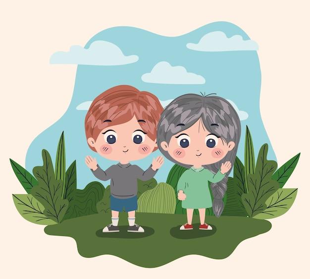 Fille et garçon dessin animé, amitié ensemble amis gens heureux et jeune illustration