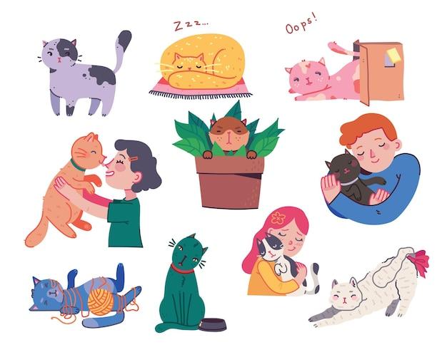 Fille et garçon étreignant des chats jeune avec un animal de compagnie embrasse le portrait dans un style plat