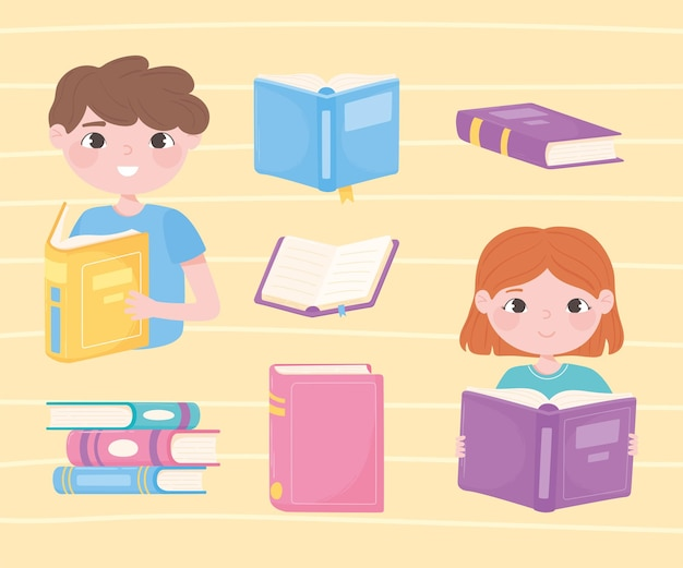 Fille et garçon lisant des livres, ouvrir des manuels scolaires littéraires et apprendre l'illustration des icônes