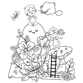 Une fille et un garçon respirent profondément dans la nature en noir et blanc