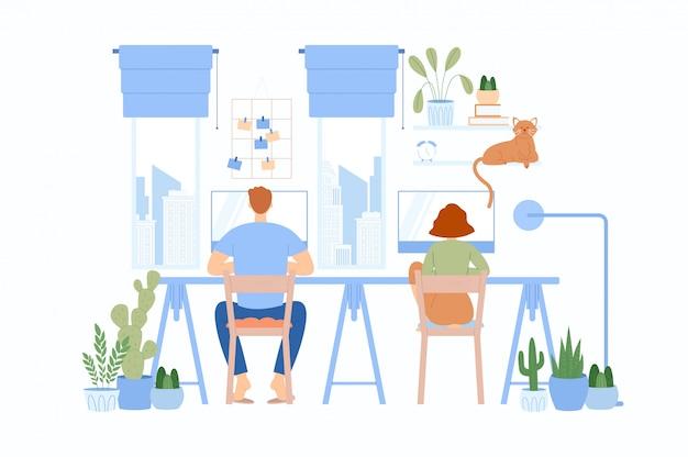 La fille avec le gars assis à la même table et travaillant. caractère indépendant travaillant à la maison.