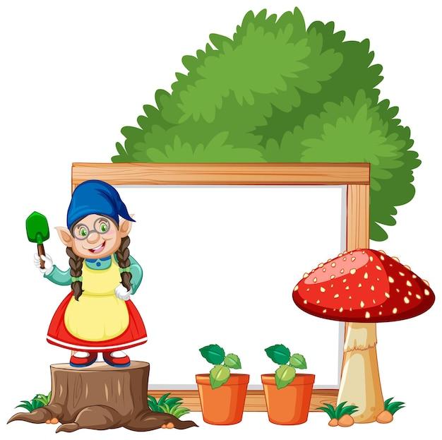 Fille de gnome avec style de dessin animé de cadre vierge