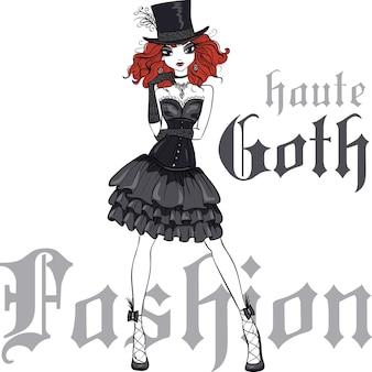 Fille gothique de vecteur en robe noire et chapeau de soie
