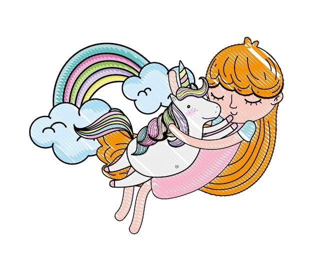 Fille griffonnée étreignant licorne avec arc-en-ciel et nuages