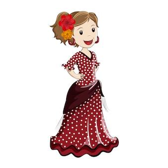 Fille habillée en costume espagnol traditionnel