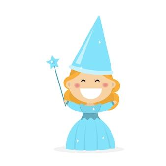 Fille habillée en marraine fée. illustration vectorielle plane
