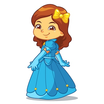 Fille habillée en princesse en robe bleue.
