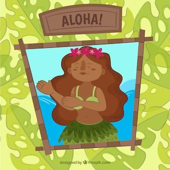 Fille hawaïenne et fond de feuilles de palmier