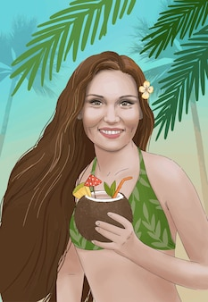 Fille hawaïenne illustration dessinée à la main avec cocktail de noix de coco