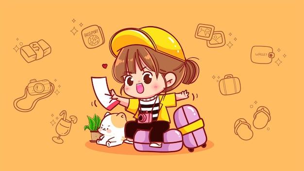 Fille heureuse assise sur l'illustration d'art de dessin animé de concept de voyage sac