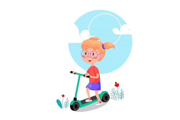 Fille heureuse à cheval sur l'illustration de dessin animé de scooter. vacances d'été activités de plein air pour les enfants. illustration sur fond isolé blanc.