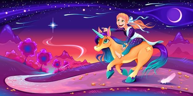 Fille heureuse chevauche la licorne à la suite de son étoile