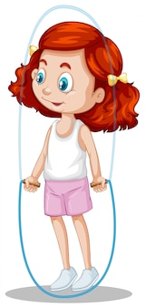 Une fille heureuse, corde à sauter