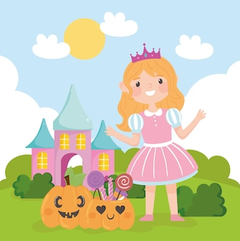 Fille heureuse en costume avec des bonbons halloween