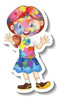 Fille heureuse avec la couleur sur son autocollant de corps sur le fond blanc