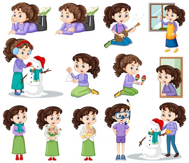 Fille heureuse dans différentes actions