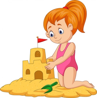 Fille heureuse de dessin animé faisant le château de sable