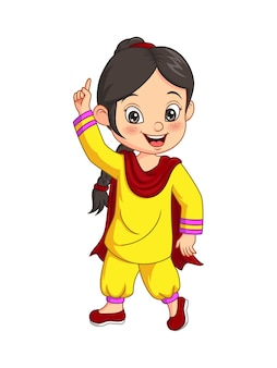 Fille heureuse de dessin animé portant le costume national de l'inde