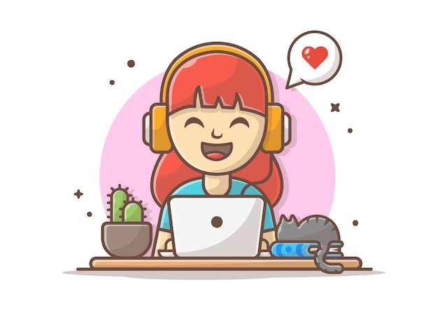 Fille heureuse écoute de la musique avec des écouteurs, un ordinateur portable et un chat endormi
