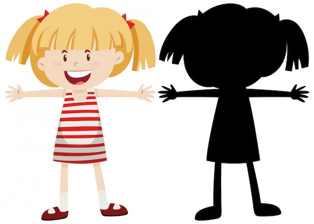 Fille heureuse étend les bras avec sa silhouette