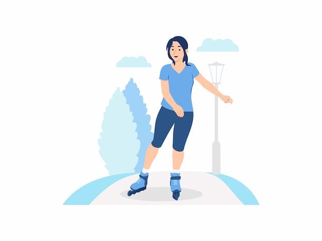 Fille heureuse femme gaie patin à roulettes dans le parc patin à roues alignées sur patins à roues alignées activités sportives en plein air concept illustration