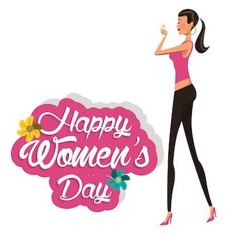 Fille heureuse journée des femmes avec fleur