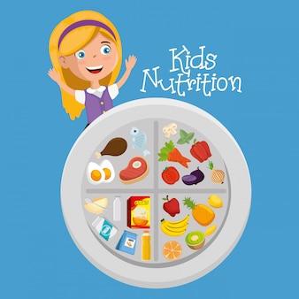 Fille heureuse avec de la nourriture de nutrition