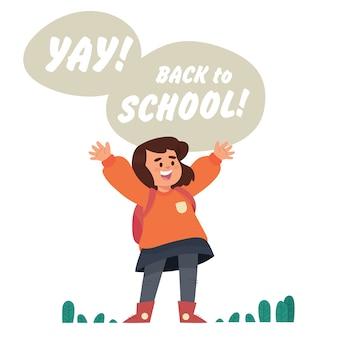 Fille heureuse parce que l'école est de retour