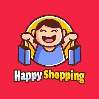 Fille heureuse avec personnage de dessin animé de sac à provisions
