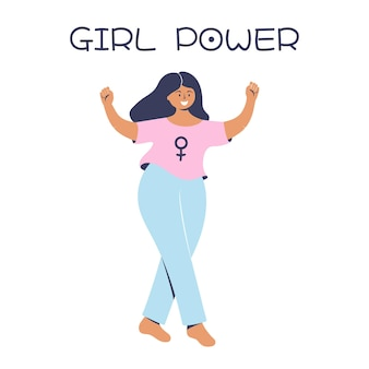 Fille heureuse avec les poings levés girl power