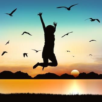 Fille heureuse, sautant sur l'art de la silhouette.