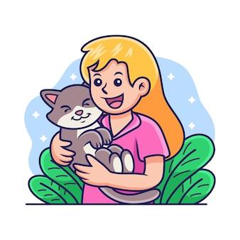 Fille heureuse tenant un dessin animé de chat. illustration d'icône de vecteur, isolée sur le vecteur premium