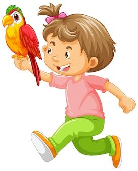 Fille heureuse, tenue, perroquet
