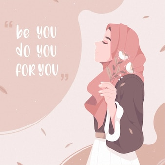 Fille hijab beauté avec citation de motivation