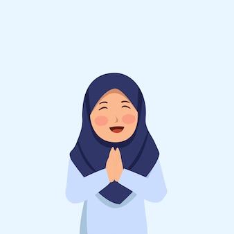 Fille hijab mignonne souriant