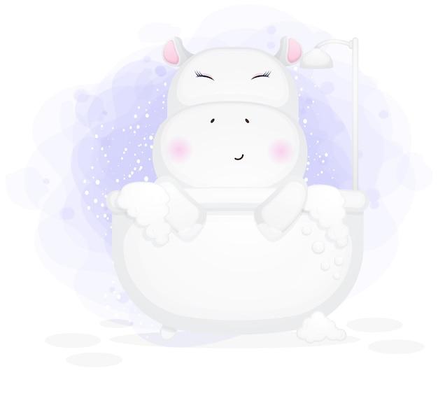 Fille hippopotame sur la chaise bleue prend le dessin animé de lune
