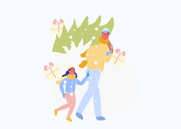 Fille et homme porte l'arbre de noël sur l'épaule.