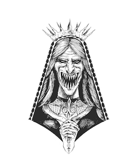 Fille horrible avec la bouche et les yeux effrayants hand drawn sketch vector illustration